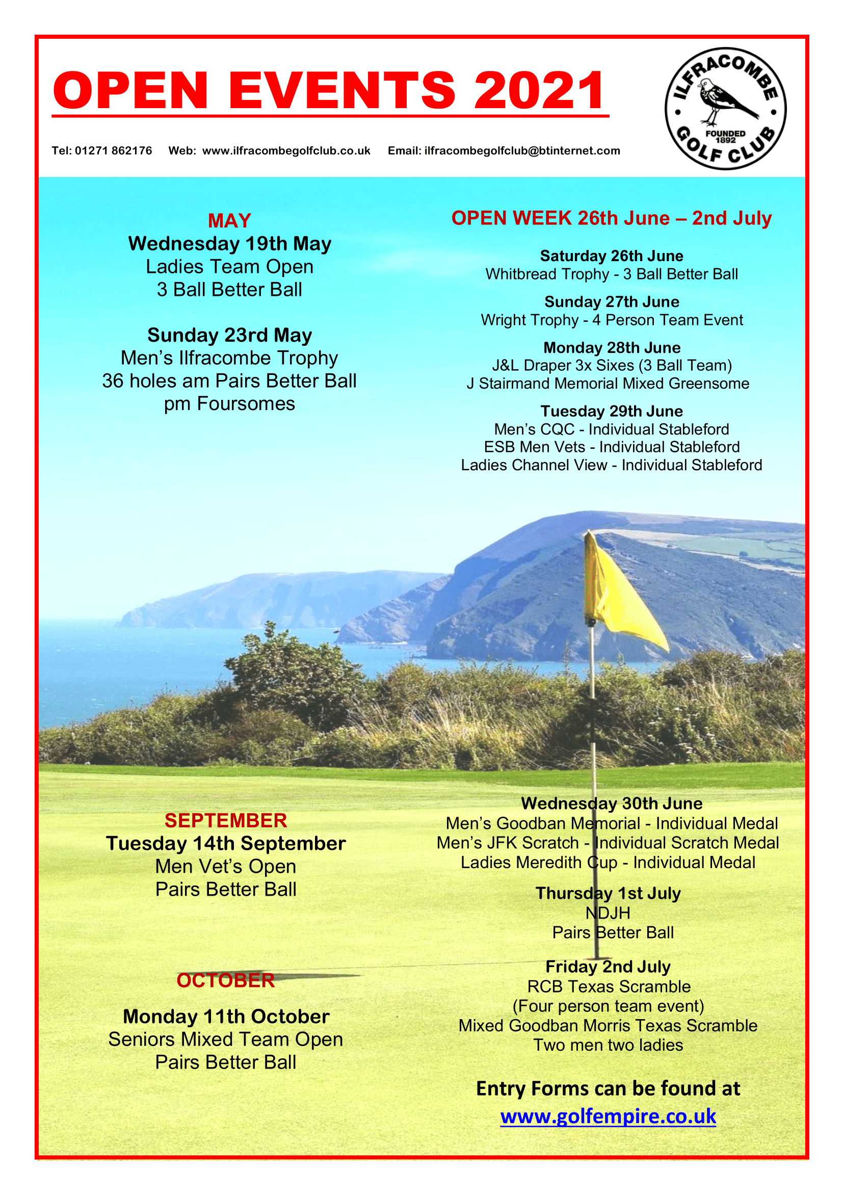 Ilfracombe Golf Club Open Events 2021